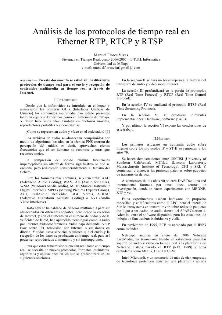 Análisis de los protocolos de tiempo real en               Ethernet RTP, RTCP y RTSP.                                     ...