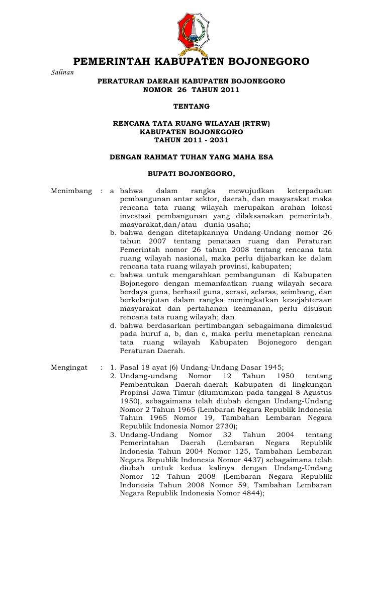 PEMERINTAH KABUPATEN BOJONEGOROSalinan            PERATURAN DAERAH KABUPATEN BOJONEGORO                     NOMOR 26 TAHUN...