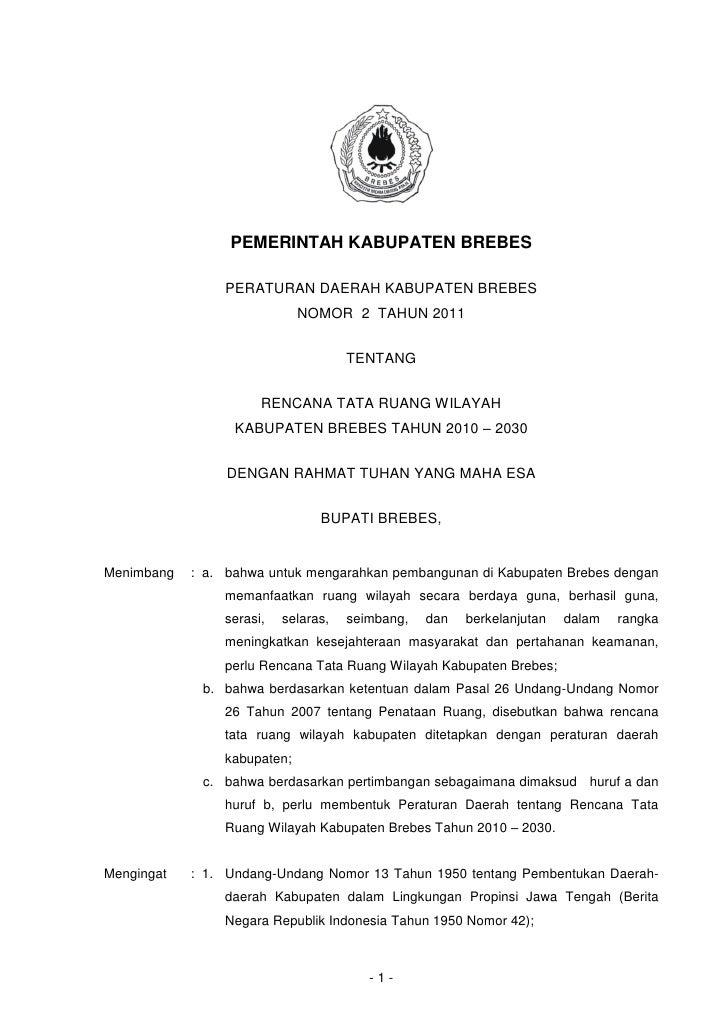 PEMERINTAH KABUPATEN BREBES                PERATURAN DAERAH KABUPATEN BREBES                             NOMOR 2 TAHUN 201...