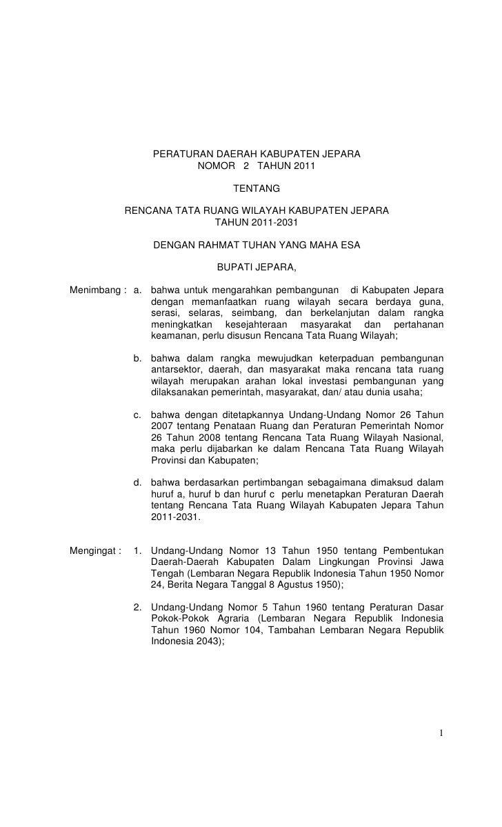 PERATURAN DAERAH KABUPATEN JEPARA                          NOMOR 2 TAHUN 2011                                   TENTANG   ...