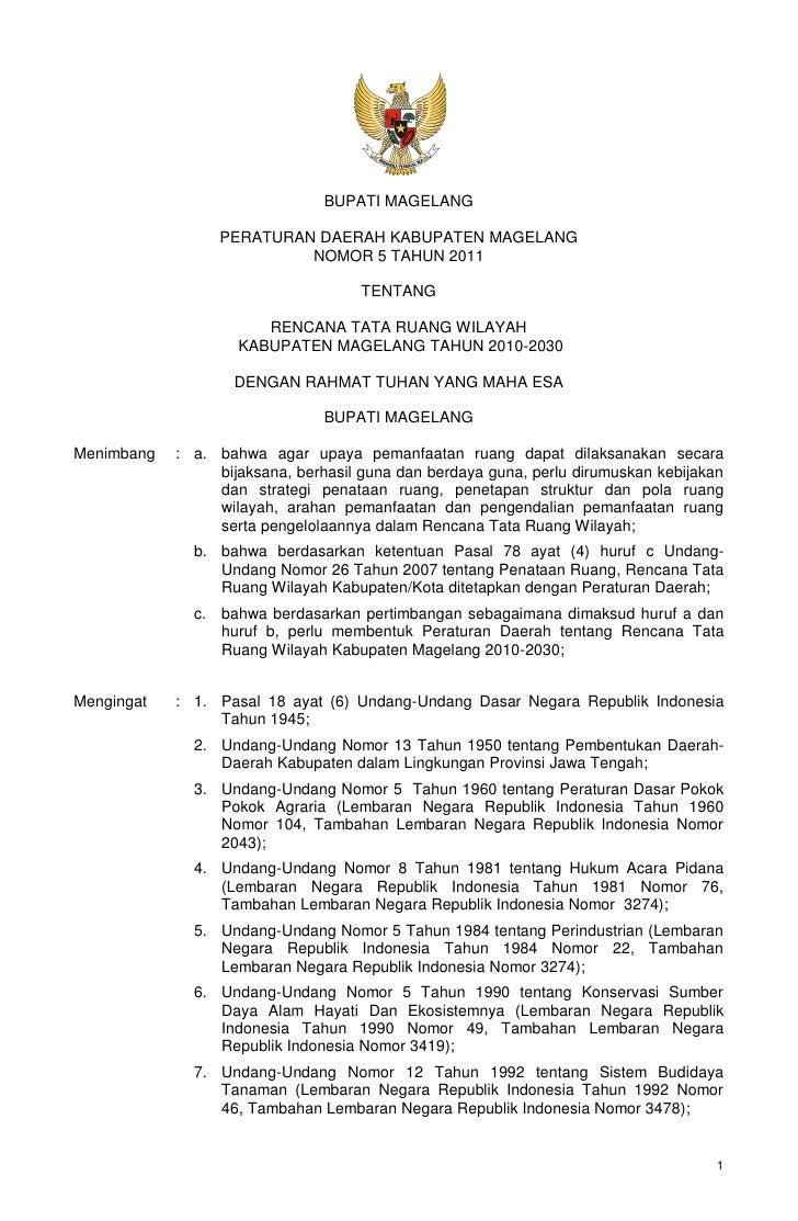 BUPATI MAGELANG                 PERATURAN DAERAH KABUPATEN MAGELANG                          NOMOR 5 TAHUN 2011           ...