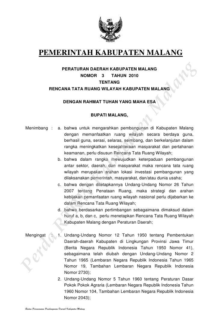 Rencana Tata Ruang Wilayah Kabupaten Malang 728 Cb Pemerintah