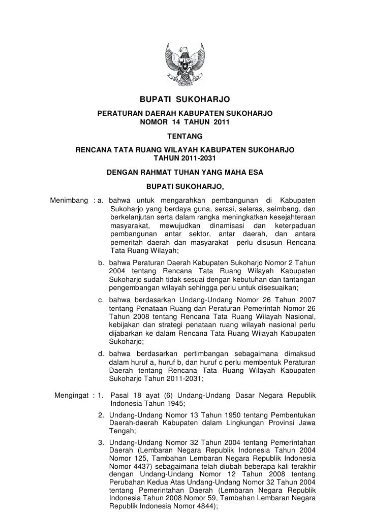BUPATI SUKOHARJO             PERATURAN DAERAH KABUPATEN SUKOHARJO                     NOMOR 14 TAHUN 2011                 ...