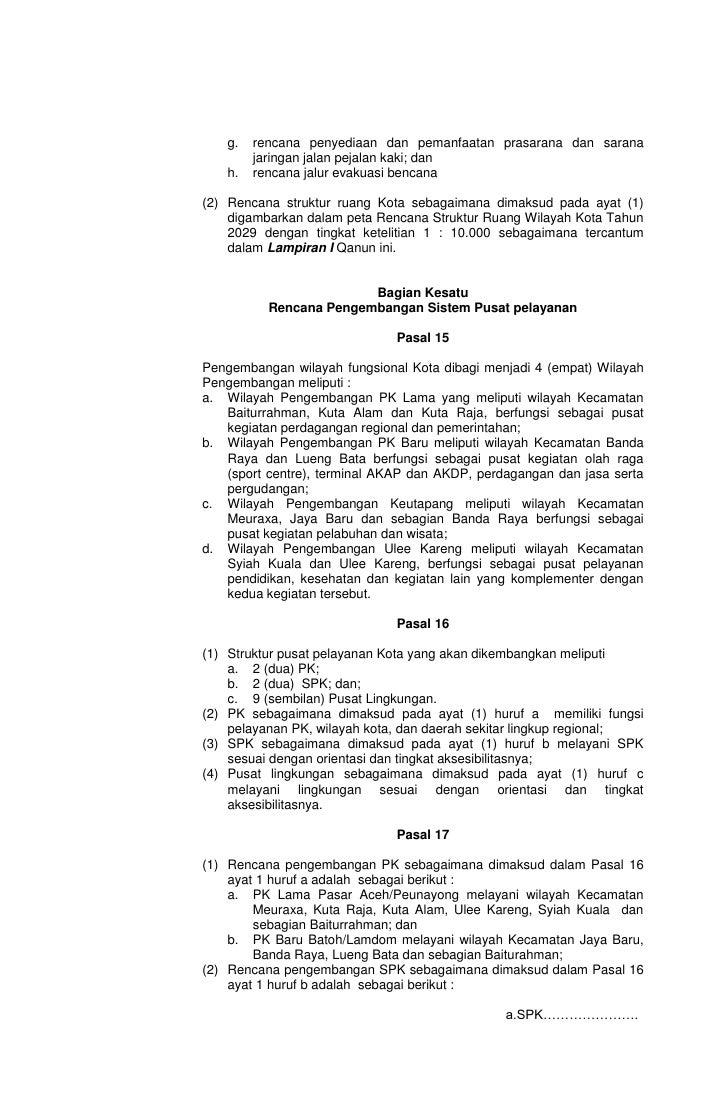Rencana Tata Ruang Wilayah Kota Banda Aceh Nad