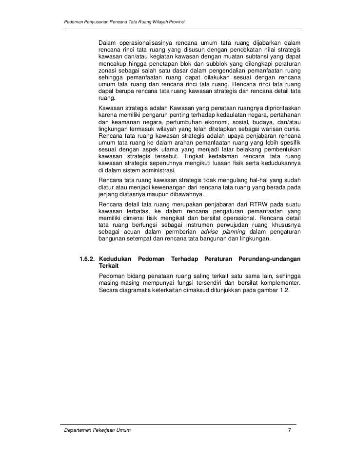 Pedoman Penyusunan Rencana Tata Ruang Wilayah Provinsi               Dalam operasionalisasinya rencana umum tata ruang dij...