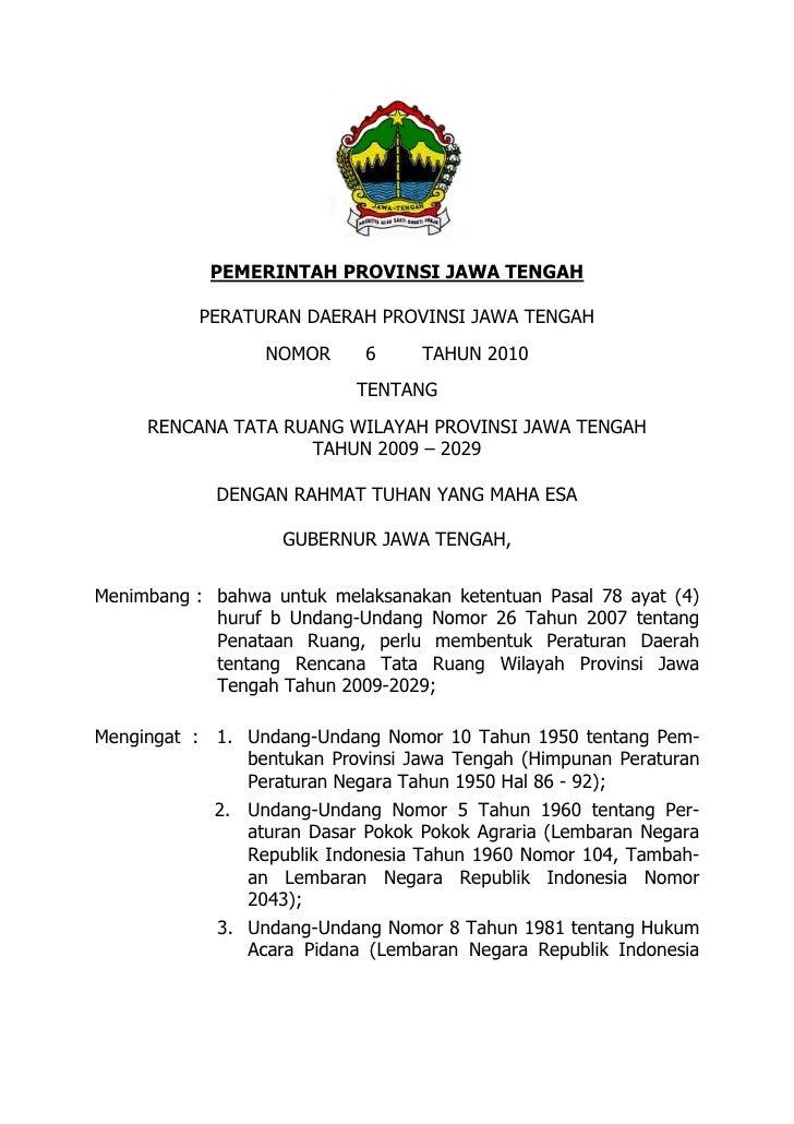 Rencana Tata Ruang Wilayah Provinsi Jawa Tengah