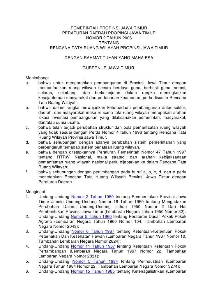 PEMERINTAH PROPINSI JAWA TIMUR               PERATURAN DAERAH PROPINSI JAWA TIMUR                         NOMOR 2 TAHUN 20...