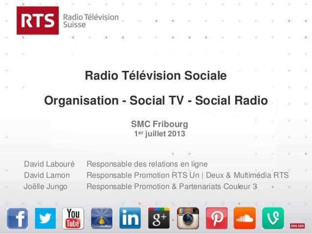 Radio Télévision Sociale Organisation - Social TV - Social Radio SMC Fribourg 1er juillet 2013 David Labouré Responsable d...