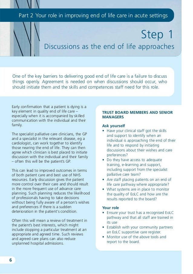 End of life - Ideas for practice: Case study
