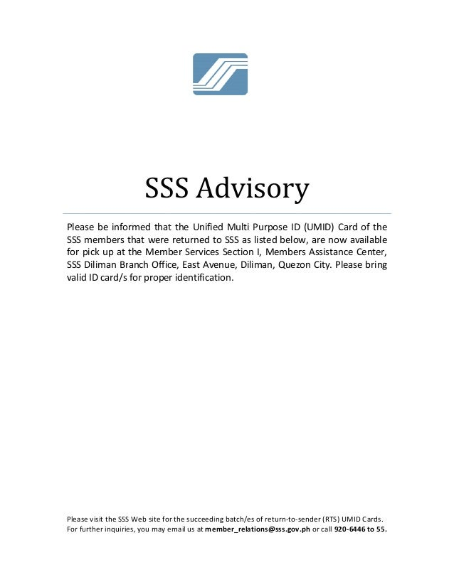 Plea SSS  for p SSS  valid Please For fu   se be info members  pick up at  Diliman Br d ID card/s  e visit the SSS urther ...