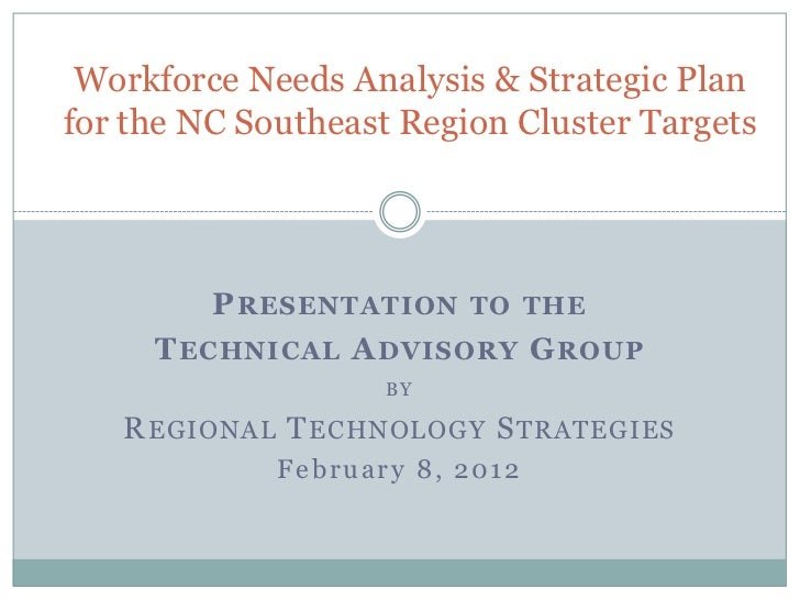 Workforce Needs Analysis & Strategic Planfor the NC Southeast Region Cluster Targets         P RESENTATION TO THE     T EC...
