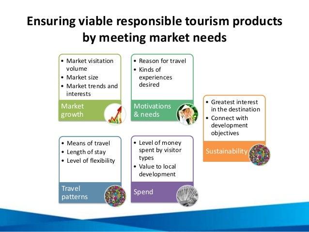 Ensuring viable responsible tourism products by meeting market needs • Market visitation volume • Market size • Market tre...