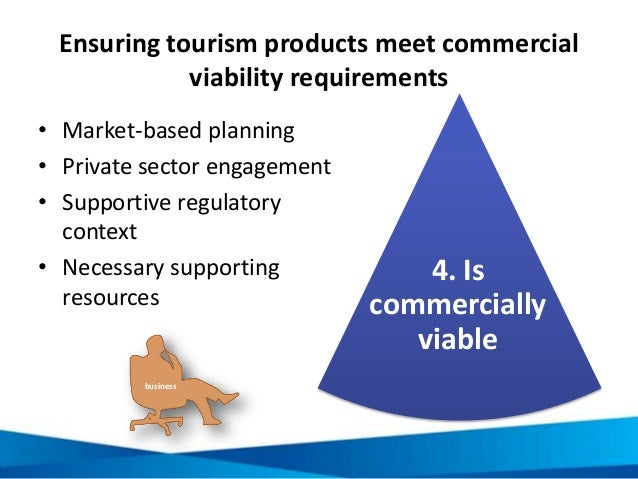 Ensuring tourism products meet commercial viability requirements • Market-based planning • Private sector engagement • Sup...