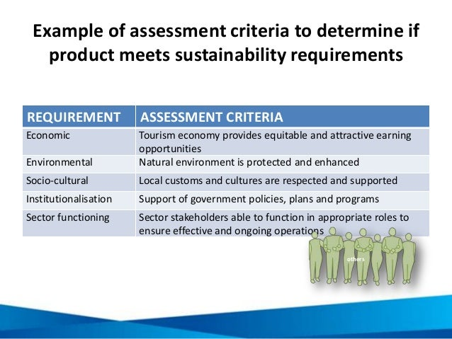 Example of assessment criteria to determine if product meets sustainability requirements REQUIREMENT ASSESSMENT CRITERIA E...