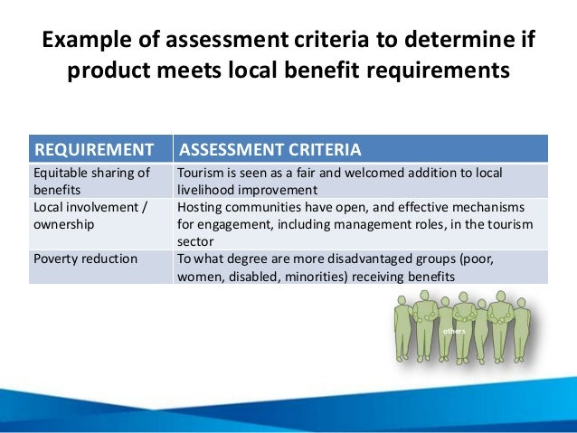 Example of assessment criteria to determine if product meets local benefit requirements REQUIREMENT ASSESSMENT CRITERIA Eq...
