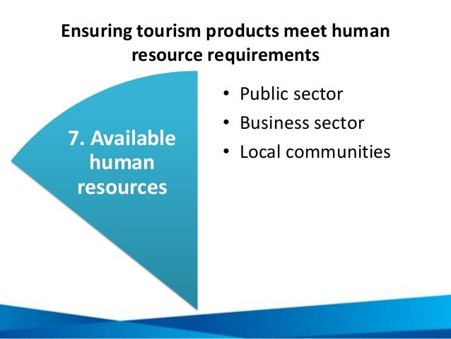 Ensuring tourism products meet human resource requirements 1. Contains defining features • Public sector • Business sector...