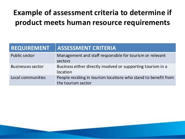 Example of assessment criteria to determine if product meets human resource requirements REQUIREMENT ASSESSMENT CRITERIA P...