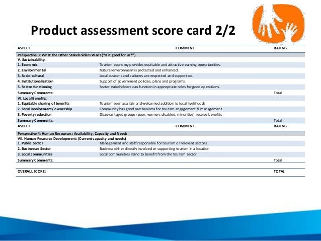 """Product assessment score card 2/2 ASPECT COMMENT RATING Perspective 3: What the Other Stakeholders Want (""""Is it good for u..."""