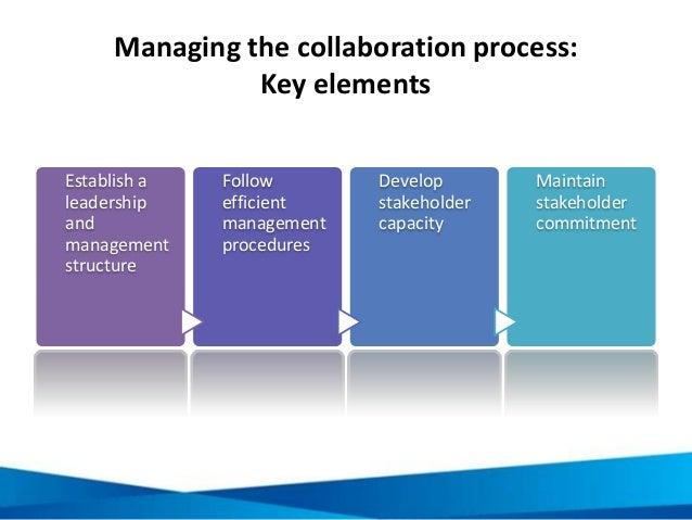 Managing the collaboration process: Key elements Establish a leadership and management structure Follow efficient manageme...