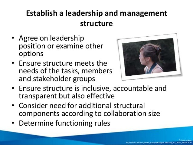Establish a leadership and management structure • Agree on leadership position or examine other options • Ensure structure...
