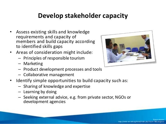 Develop stakeholder capacity • Assess existing skills and knowledge requirements and capacity of members and build capacit...