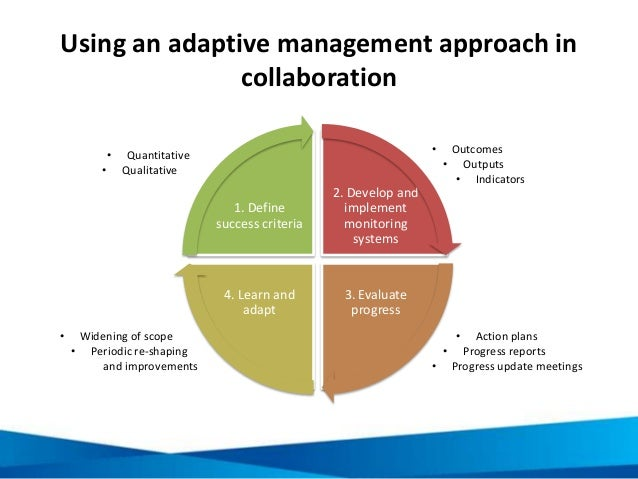 Using an adaptive management approach in collaboration 2. Develop and implement monitoring systems 3. Evaluate progress 4....