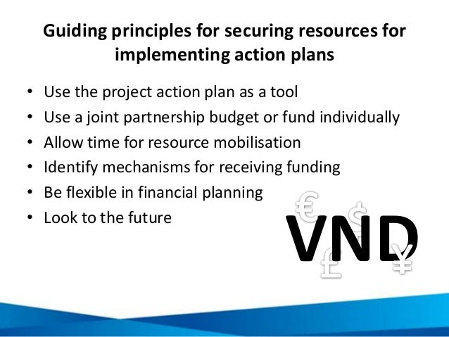 Guiding principles for securing resources for implementing action plans • Use the project action plan as a tool • Use a jo...