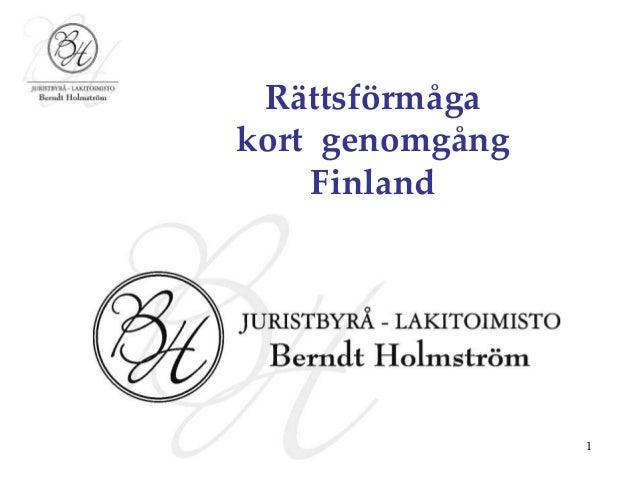 1 Rättsförmåga kort genomgång Finland