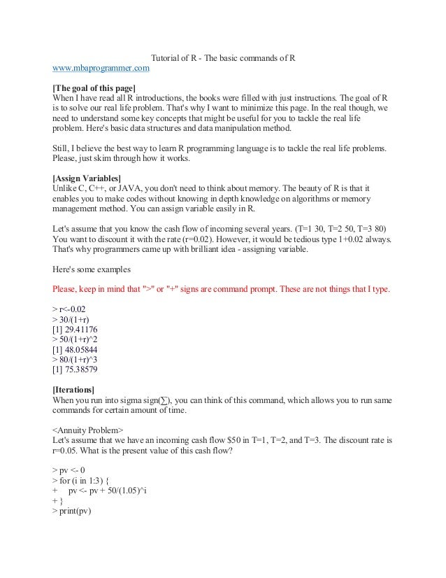 R tutorial (R program 101)