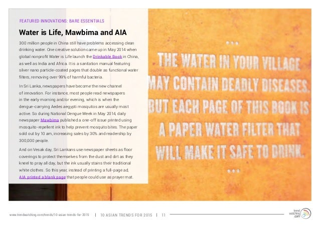 FEATURED INNOVATIONS: BARE ESSENTIALS  Water is Life, Mawbima and AIA  300 million people in China still have problems acc...