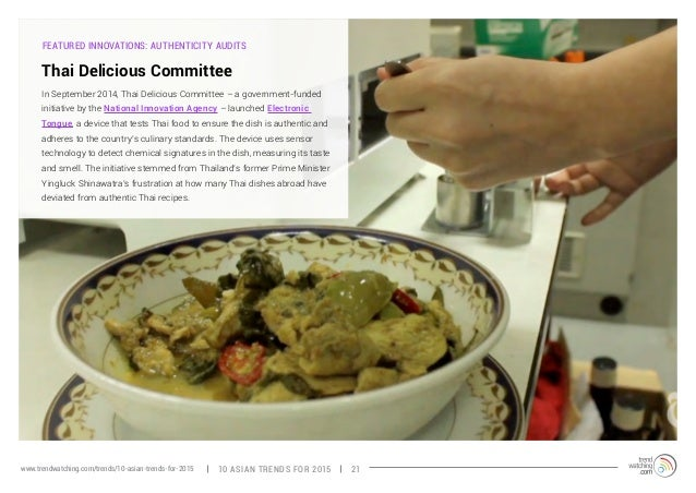 FEATURED INNOVATIONS: AUTHENTICITY AUDITS  Thai Delicious Committee  In September 2014, Thai Delicious Committee – a gover...