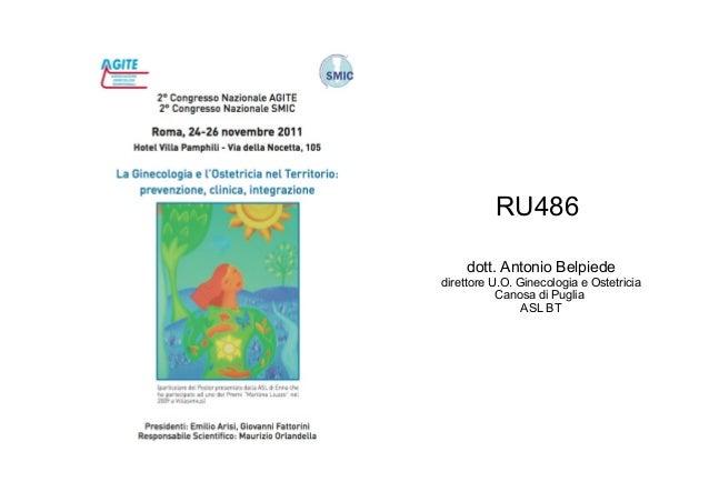 RU486 dott. Antonio Belpiede direttore U.O. Ginecologia e Ostetricia Canosa di Puglia ASL BT