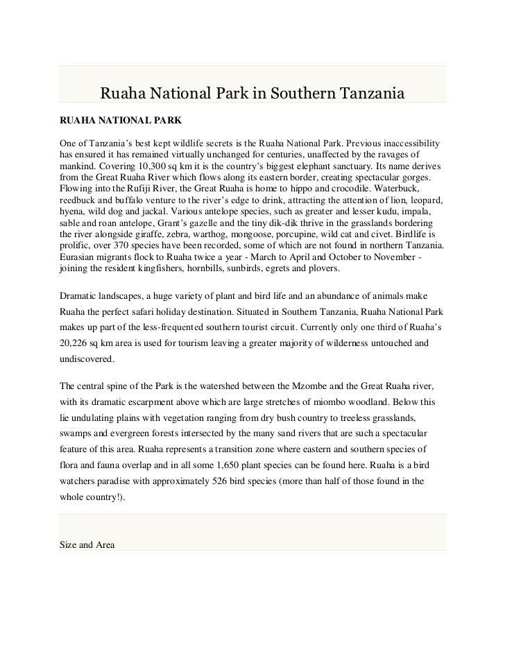 Ruaha National Park in Southern TanzaniaRUAHA NATIONAL PARKOne of Tanzania's best kept wildlife secrets is the Ruaha Natio...