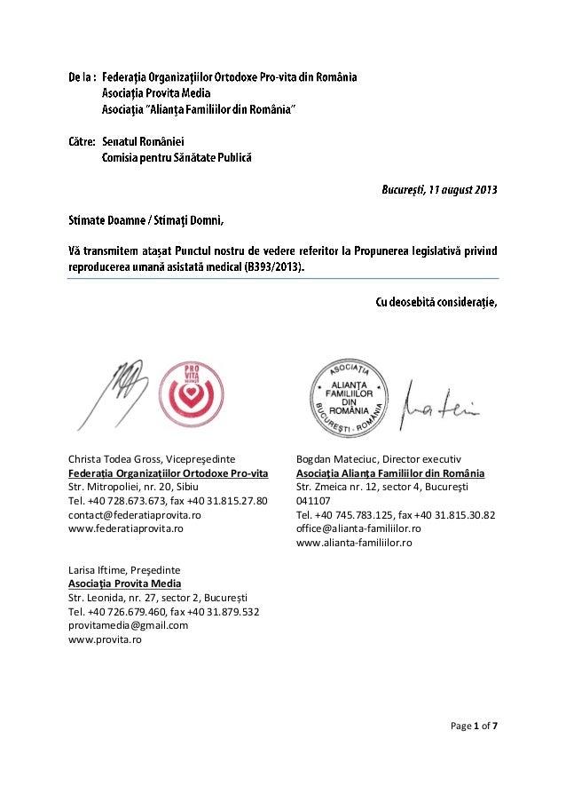 Page 1 of 7 Christa Todea Gross, Vicepreşedinte Federația Organizațiilor Ortodoxe Pro-vita Str. Mitropoliei, nr. 20, Sibiu...