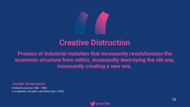 Creative Distruction Process of industrial mutation that incessantly revolutionizes the economic structure from within, in...