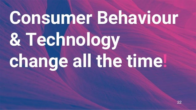 Consumer Behaviour & Technology change all the time! 22