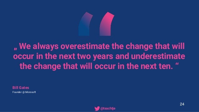 """"""" We always overestimate the change that will occur in the next two years and underestimate the change that will occur in ..."""