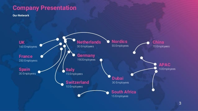 Netherlands 30 Employees Switzerland 10 Employees Dubai 30 Employees South Africa 15 Employees APAC 10 Employees France 25...