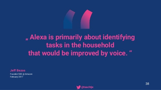""""""" Alexa is primarily about identifying tasks in the household that would be improved by voice. """" Jeff Bezos Founder/CEO @ ..."""