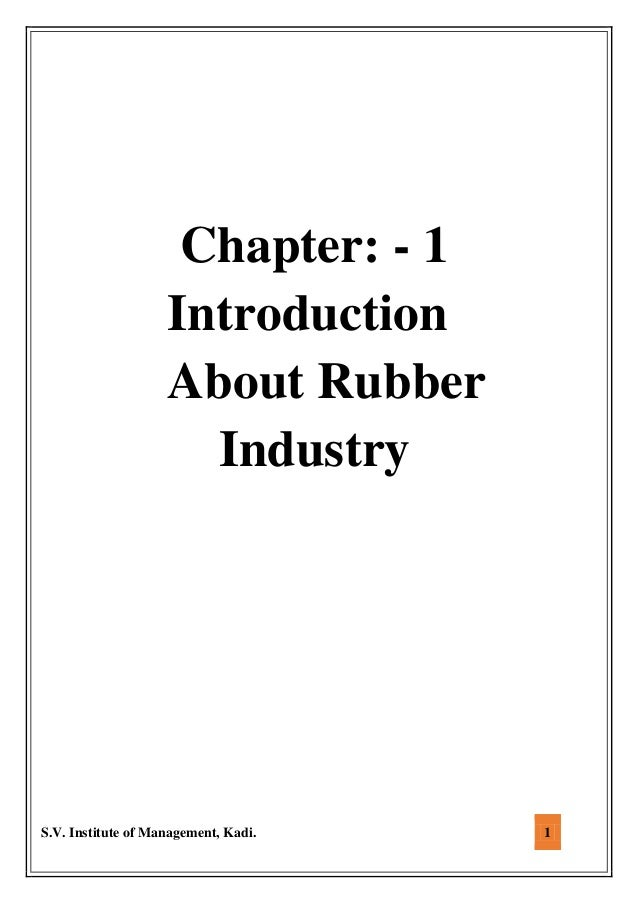 A Comprehensive Project report on Rubber Industry