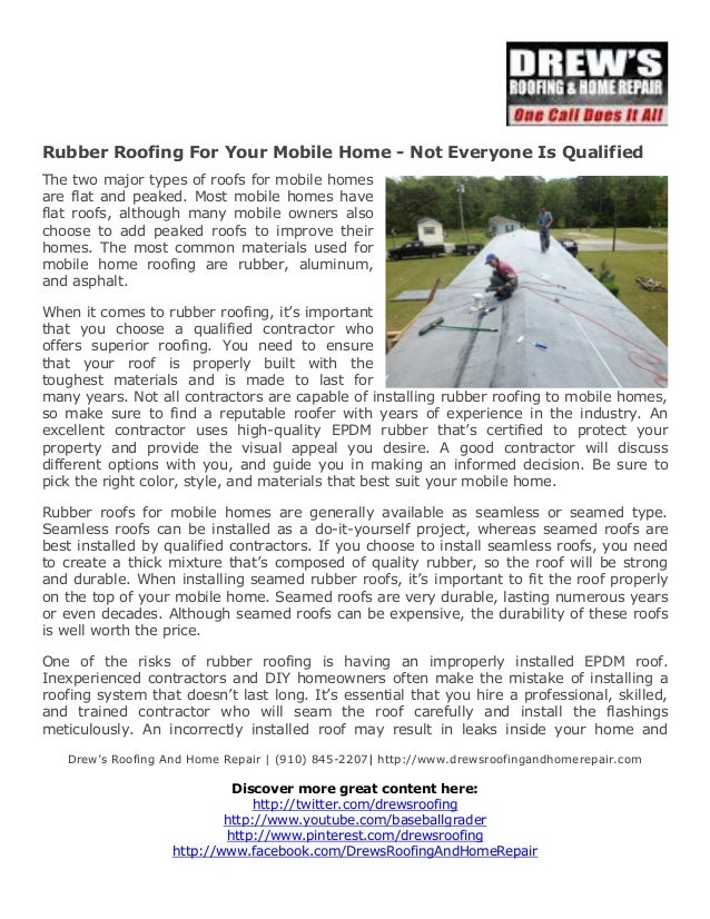 Rubber Roofing For Your Mobile Home Not Everyone Is Qualified