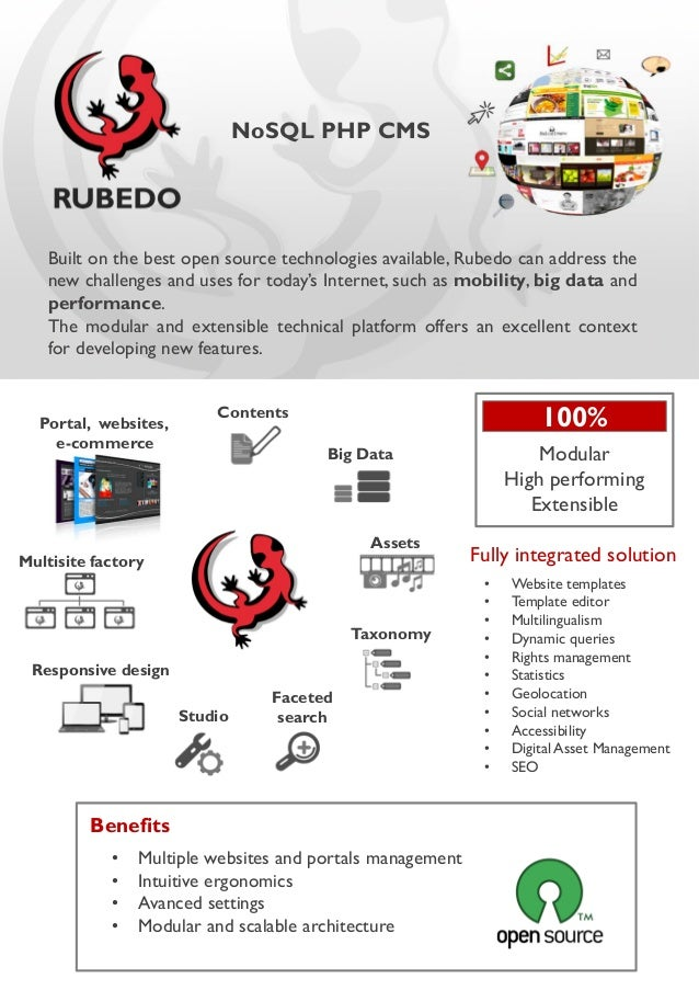NoSQL PHP CMS  Built on the best open source technologies available, Rubedo can address the new challenges and uses for to...