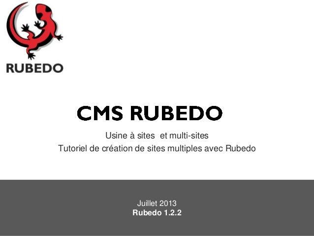 Usine à sites et multi-sites Tutoriel de création de sites multiples avec Rubedo Juillet 2013 Rubedo 1.2.2