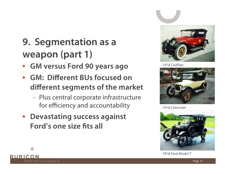 9. Segmentation as a weapon (part 1) • GM versus Ford 90 years ago                    1918 Cadillac   • GM: Different BUs...