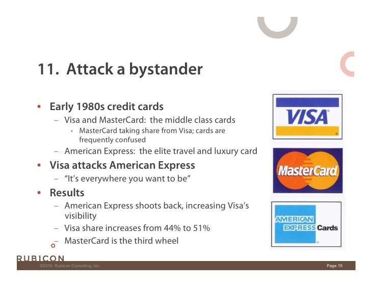 11. Attack a bystander  • Early 1980s credit cards        – Visa and MasterCard: the middle class cards                 ...
