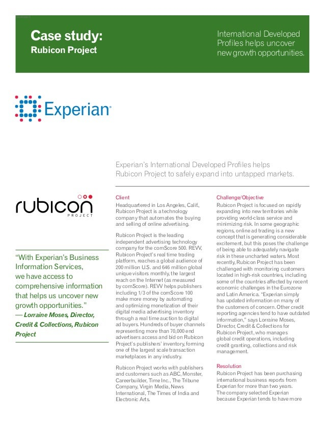 Developed Experian's International Developed Profiles helps Rubicon Project to safely expand into untapped markets. Client...