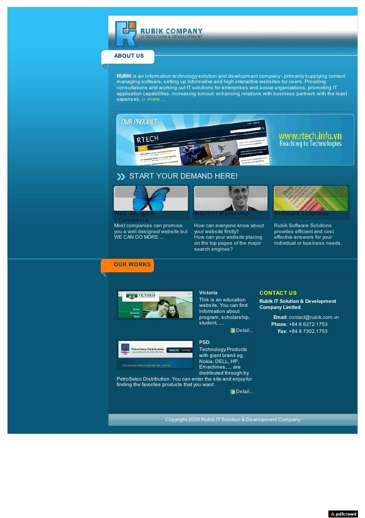 ABOUT US    RUBIK is an information technology solution and development company  primarily supplying content  managing so...