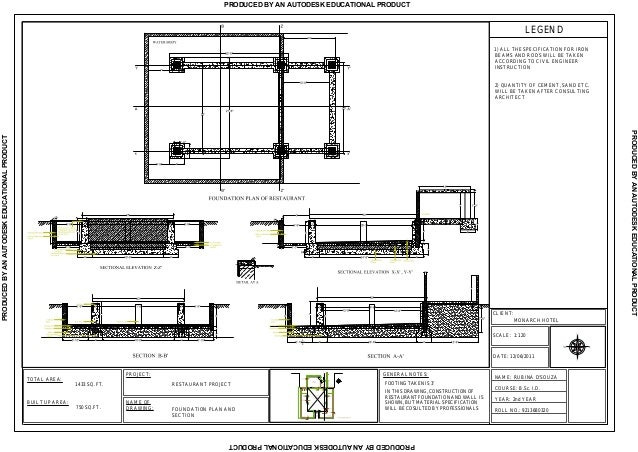 Rubina restaurant foundation plan section for Foundation plan drawing
