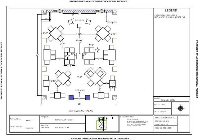 Rubina restaurant furniture plan - General notes for interior design drawings ...