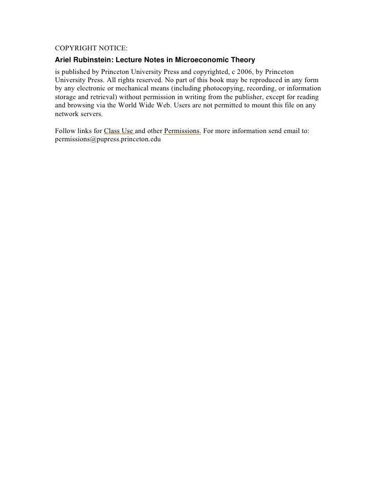 rubinstein2005 lecture on microeconomics rh slideshare net